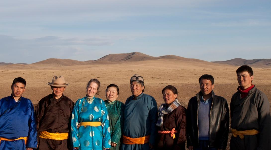 A Mongolian host family with a Projects Abroad volunteer on one of our cultural immersion programmes overseas.